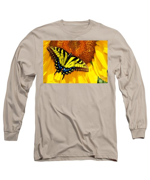 Butterfly And The Sunflower Long Sleeve T-Shirt