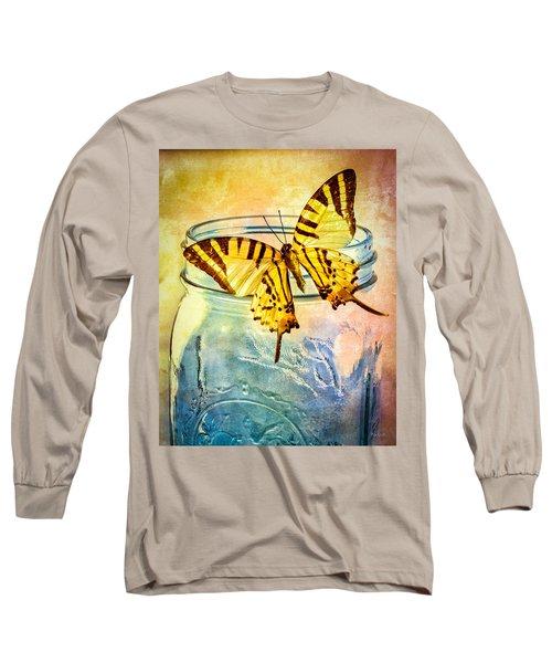 Butterfly Blue Glass Jar Long Sleeve T-Shirt by Bob Orsillo