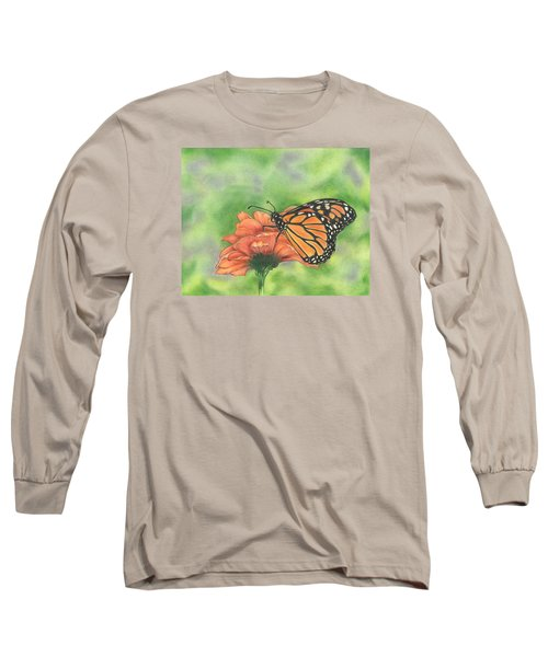 Long Sleeve T-Shirt featuring the drawing Butterfly by Troy Levesque