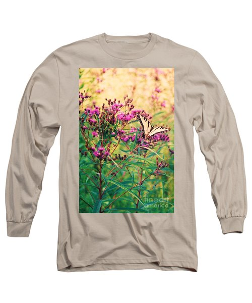 Long Sleeve T-Shirt featuring the painting Butterfly Wildflower by Eric  Schiabor