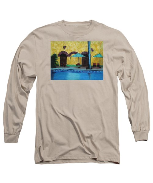 Long Sleeve T-Shirt featuring the painting By The Poolside by Jeanne Fischer