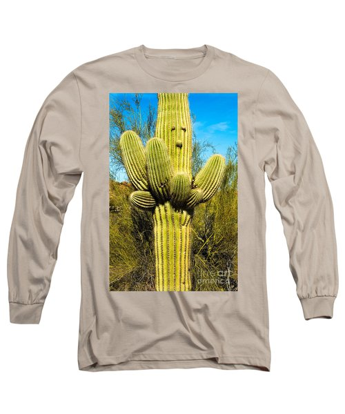 Long Sleeve T-Shirt featuring the photograph Cactus Face by Mae Wertz