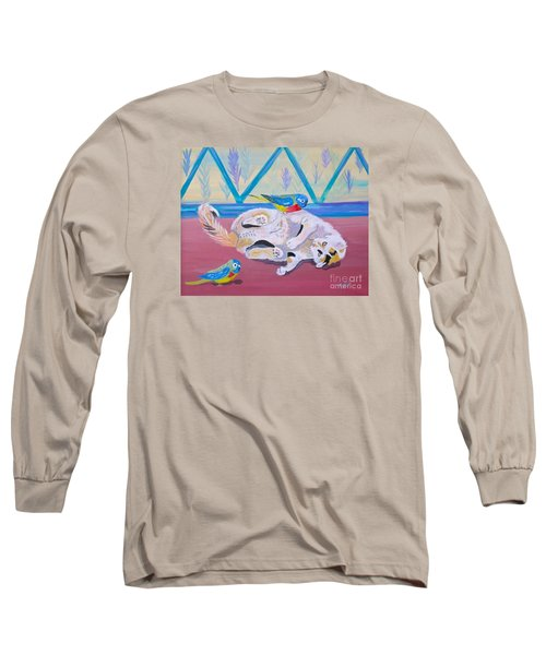 Long Sleeve T-Shirt featuring the painting Calico And Friends by Phyllis Kaltenbach