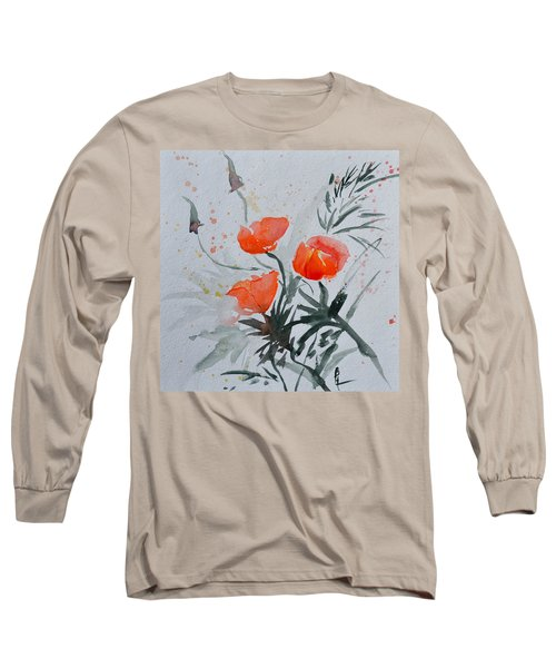 California Poppies Sumi-e Long Sleeve T-Shirt