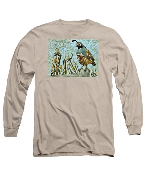 Long Sleeve T-Shirt featuring the painting California Quail by VLee Watson