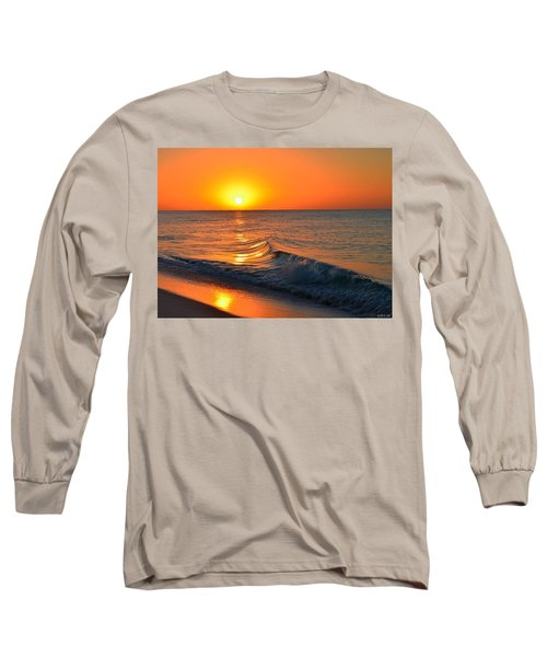 Calm And Clear Sunrise On Navarre Beach With Small Perfect Wave Long Sleeve T-Shirt by Jeff at JSJ Photography