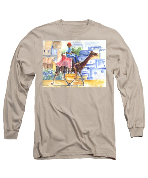 Long Sleeve T-Shirt featuring the painting Camel Driver by Carol Wisniewski