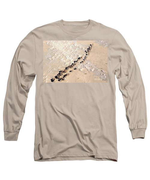 Camels Walking In Desert Long Sleeve T-Shirt