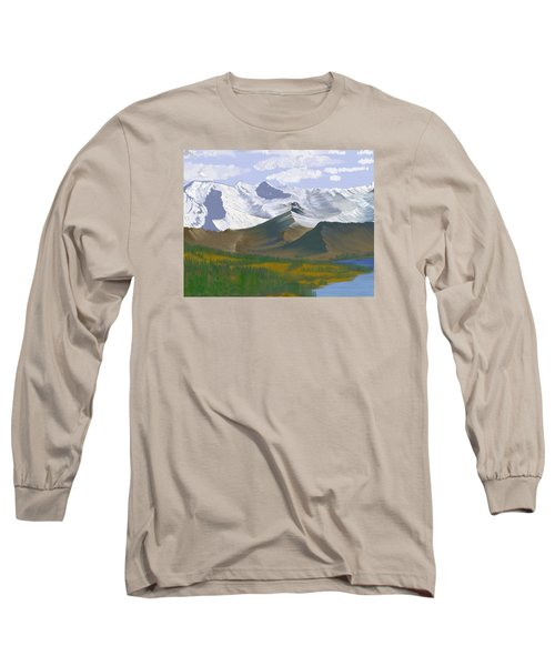 Long Sleeve T-Shirt featuring the digital art Canadian Rockies by Terry Frederick
