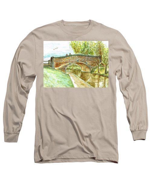Long Sleeve T-Shirt featuring the painting Canal-bridal Path In Staffordshire  by Teresa White