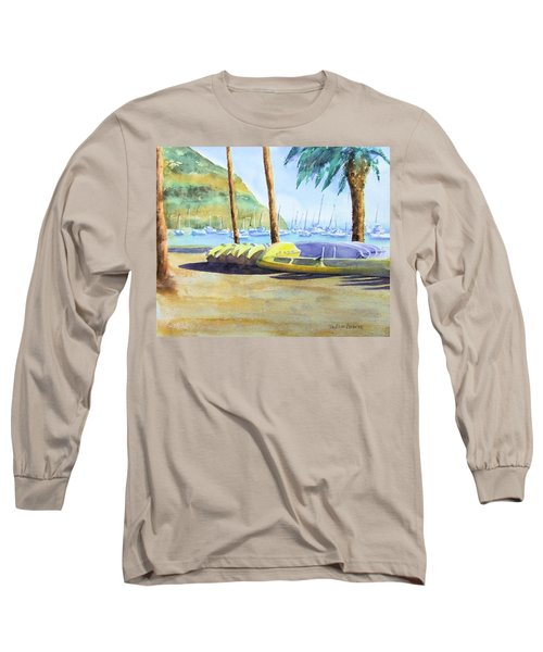 Canoes And Surfboards In The Morning Light - Catalina Long Sleeve T-Shirt