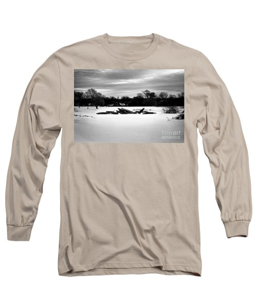 Canoes In The Snow - Monochrome Long Sleeve T-Shirt