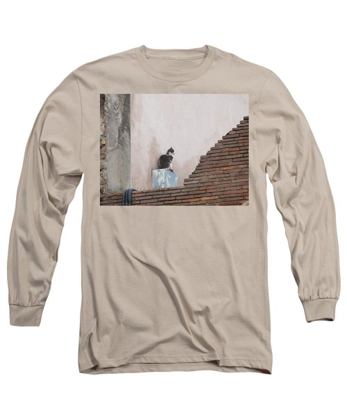 Long Sleeve T-Shirt featuring the photograph Cat Above The Roman Ruins by Tiffany Erdman