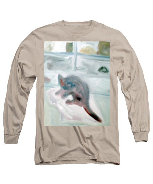 Cat In The Garage On A Mat Long Sleeve T-Shirt