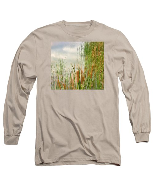Long Sleeve T-Shirt featuring the photograph Cattails by Marilyn Diaz