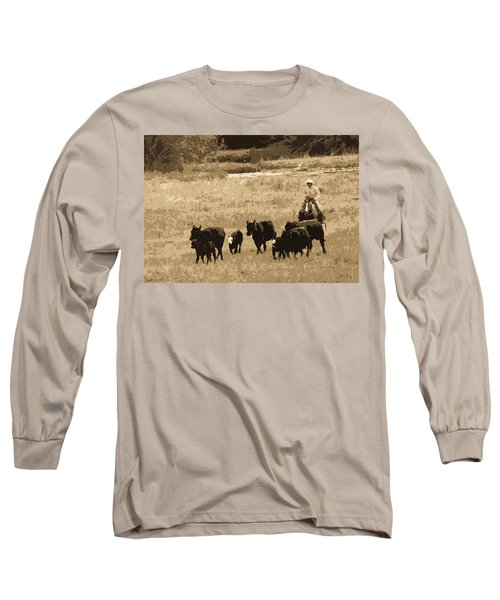 Cattle Round Up Sepia Long Sleeve T-Shirt by Athena Mckinzie