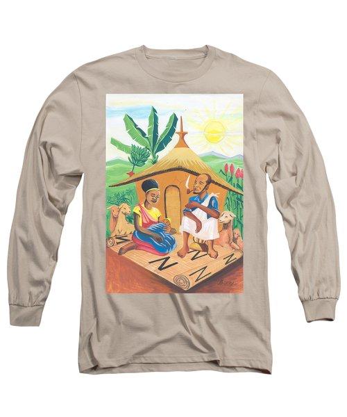 Long Sleeve T-Shirt featuring the painting Celebration Of The Nativity In Rwanda by Emmanuel Baliyanga