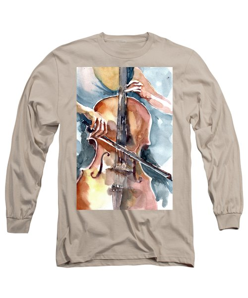 Long Sleeve T-Shirt featuring the painting Cellist by Faruk Koksal