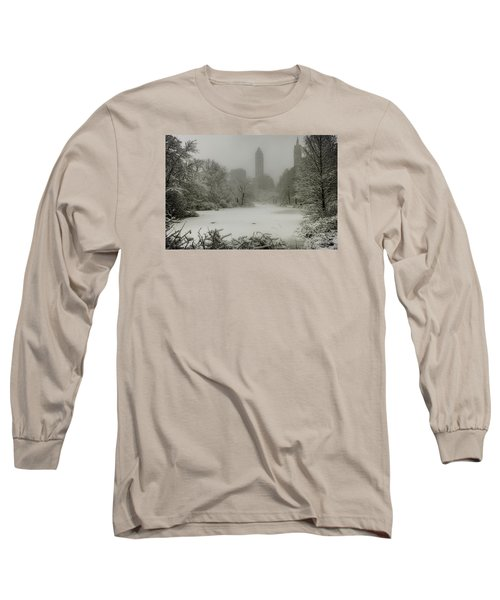 Long Sleeve T-Shirt featuring the photograph Central Park Snowstorm by Chris Lord