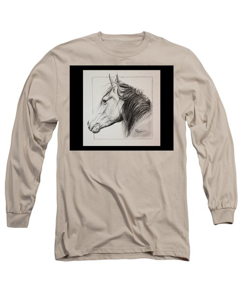 Long Sleeve T-Shirt featuring the drawing Champion by Rachel Hames