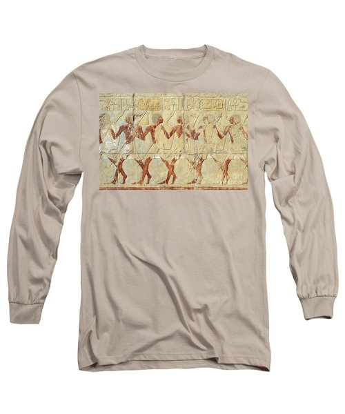 Chapel Of Hathor Hatshepsut Nubian Procession Soldiers - Digital Image -fine Art Print-ancient Egypt Long Sleeve T-Shirt