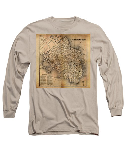 Long Sleeve T-Shirt featuring the painting Charleston Vintage Map No. I by James Christopher Hill