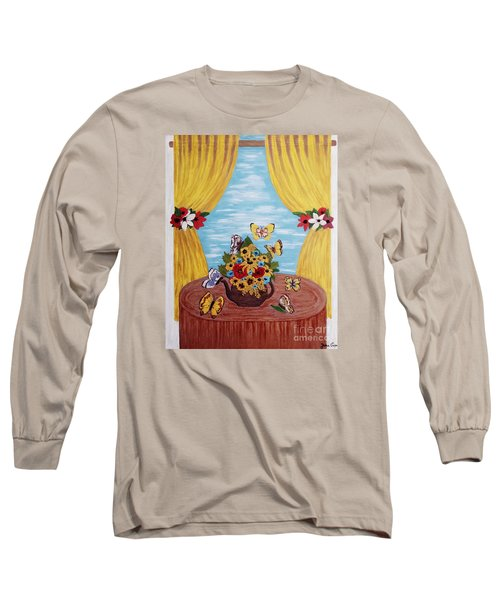 Long Sleeve T-Shirt featuring the painting Cheerful Butterflies by Jasna Gopic