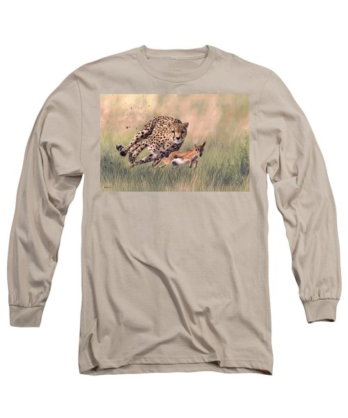 Cheetah And Gazelle Painting Long Sleeve T-Shirt