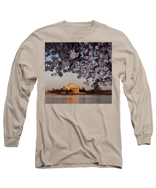 Cherry Blossom Tree With A Memorial Long Sleeve T-Shirt by Panoramic Images