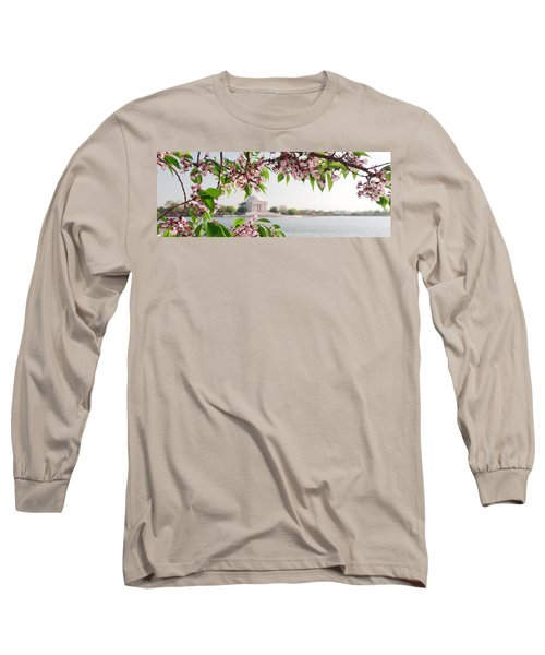 Long Sleeve T-Shirt featuring the photograph Cherry Blossoms And The Jefferson Memorial Panorama by Mitchell R Grosky