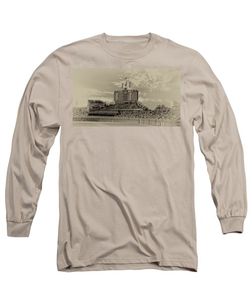 Chicago Cubs Scoreboard In Heirloom Finish Long Sleeve T-Shirt by Thomas Woolworth