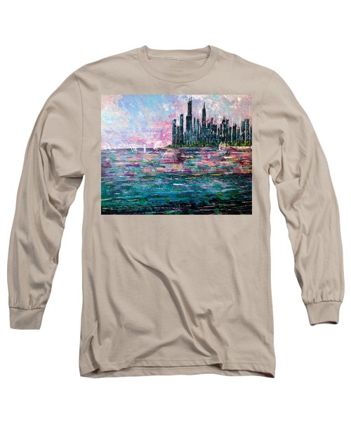 Chicago Morning - Sold Long Sleeve T-Shirt by George Riney