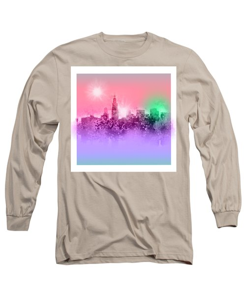Chicago Skyline Abstract 3 Long Sleeve T-Shirt