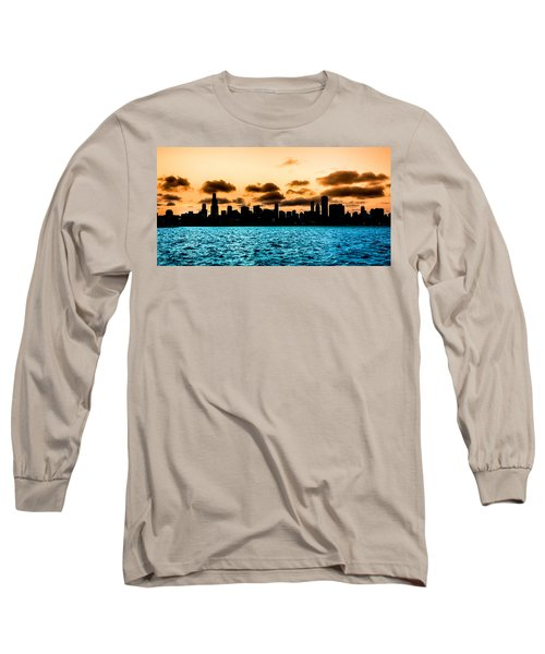 Chicago Skyline Silhouette Long Sleeve T-Shirt by Semmick Photo