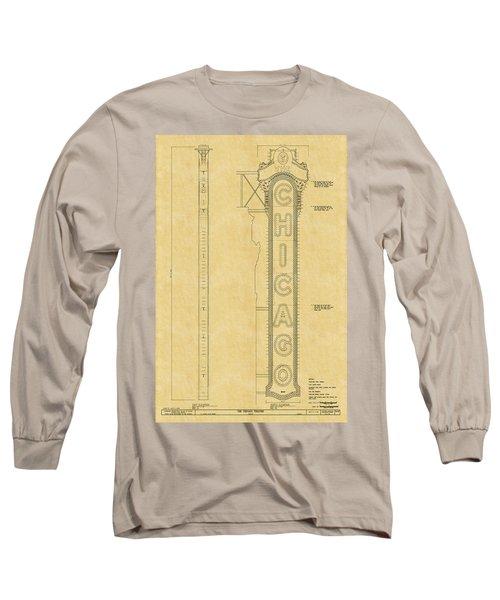 Chicago Theatre Blueprint Long Sleeve T-Shirt