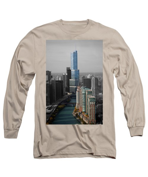 Chicago Trump Tower Blue Selective Coloring Long Sleeve T-Shirt by Thomas Woolworth