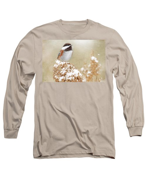 Chickadee And Falling Snow Long Sleeve T-Shirt by Peggy Collins