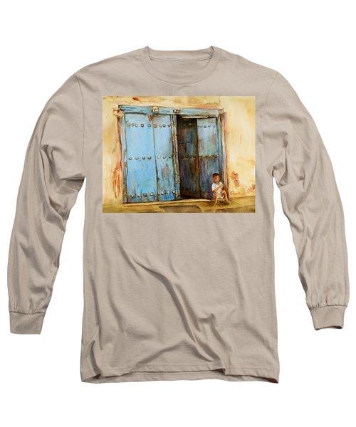 Child Sitting In Old Zanzibar Doorway Long Sleeve T-Shirt