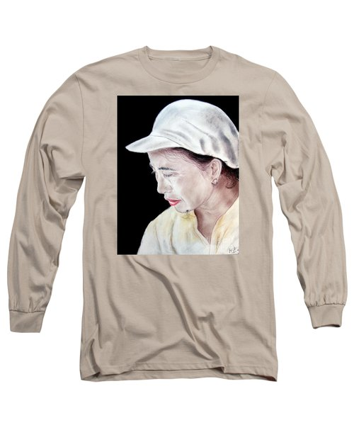 Long Sleeve T-Shirt featuring the drawing Chinese Woman With A Facial Mole by Jim Fitzpatrick