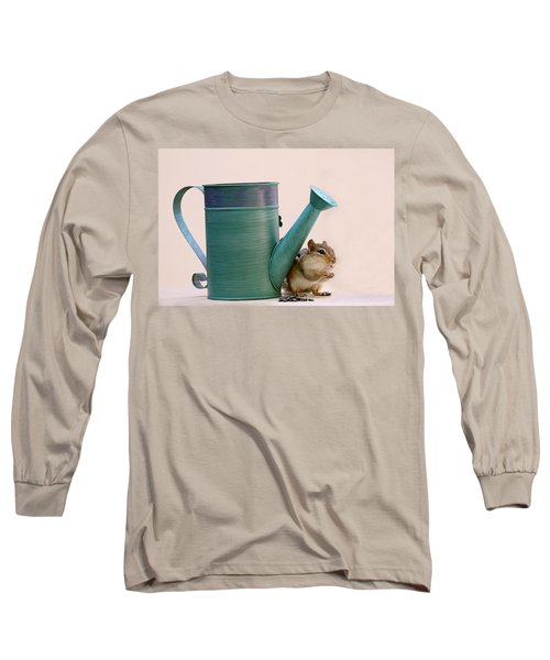 Chipmunk And Watering Can Long Sleeve T-Shirt by Peggy Collins