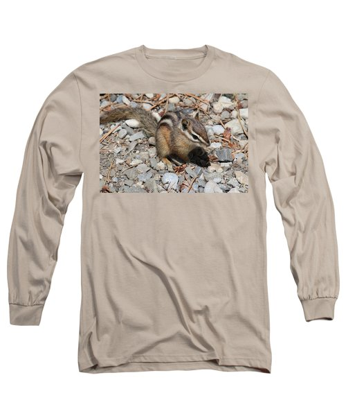 Long Sleeve T-Shirt featuring the photograph Chipmunk by Ann E Robson