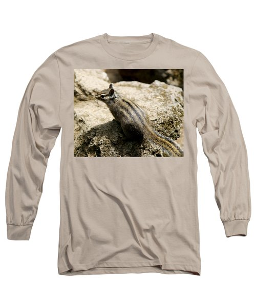 Long Sleeve T-Shirt featuring the photograph Chipmunk On A Rock by Belinda Greb