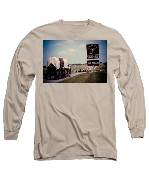 Chisholm Trail Centennial Cattle Drive Long Sleeve T-Shirt by Toni Hopper