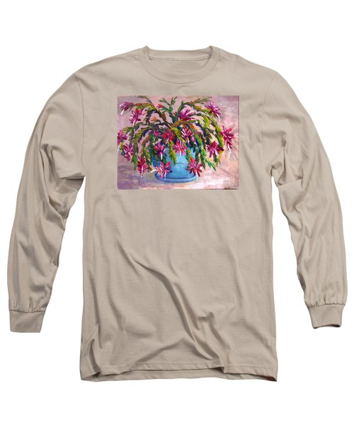 Long Sleeve T-Shirt featuring the painting Christmas Cactus by Lou Ann Bagnall
