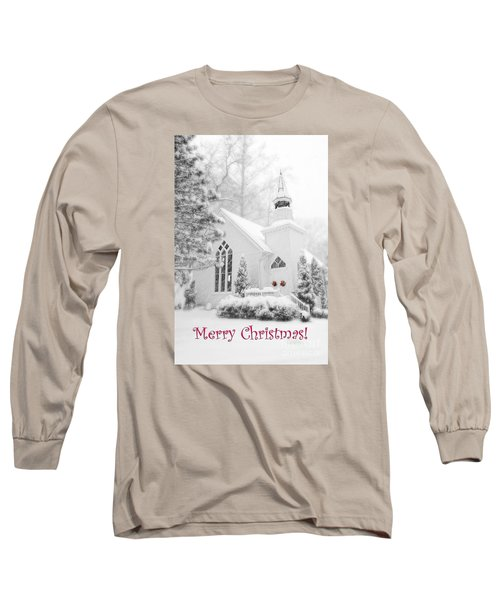 Historic Church Oella Maryland - Christmas Card Long Sleeve T-Shirt by Vizual Studio