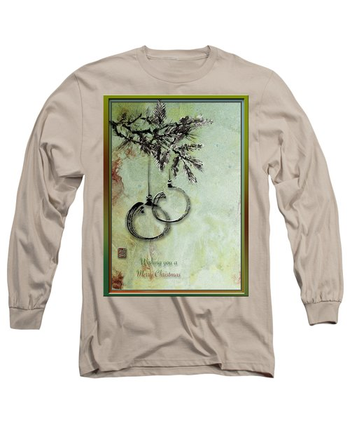 Long Sleeve T-Shirt featuring the painting Christmas Greeting Card With Ink Brush Drawing by Peter v Quenter