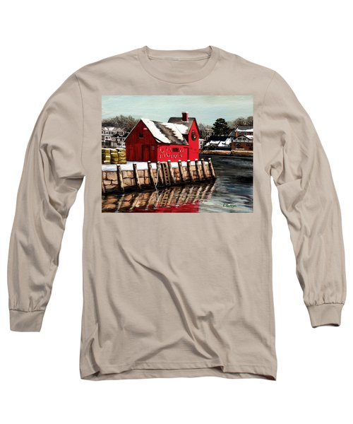 Christmas In Rockport Long Sleeve T-Shirt by Eileen Patten Oliver