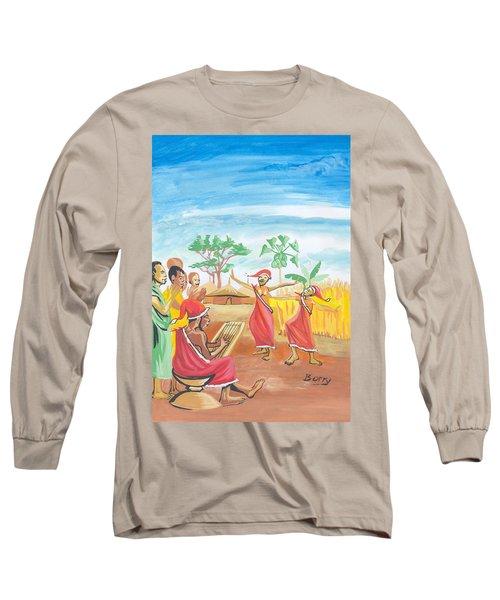 Long Sleeve T-Shirt featuring the painting Christmas In Rwanda by Emmanuel Baliyanga
