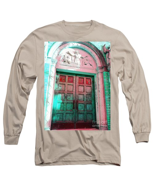 Long Sleeve T-Shirt featuring the photograph Church Door by Becky Lupe