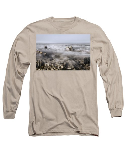 Long Sleeve T-Shirt featuring the photograph City Skyscrapers Above The Clouds by Ron Shoshani